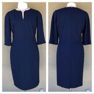 Lafayette 148 navy midi sheath dress